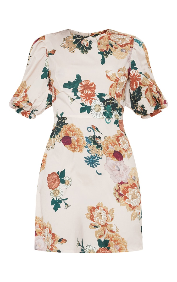 Nude Floral Puff Sleeve Skater Dress 3