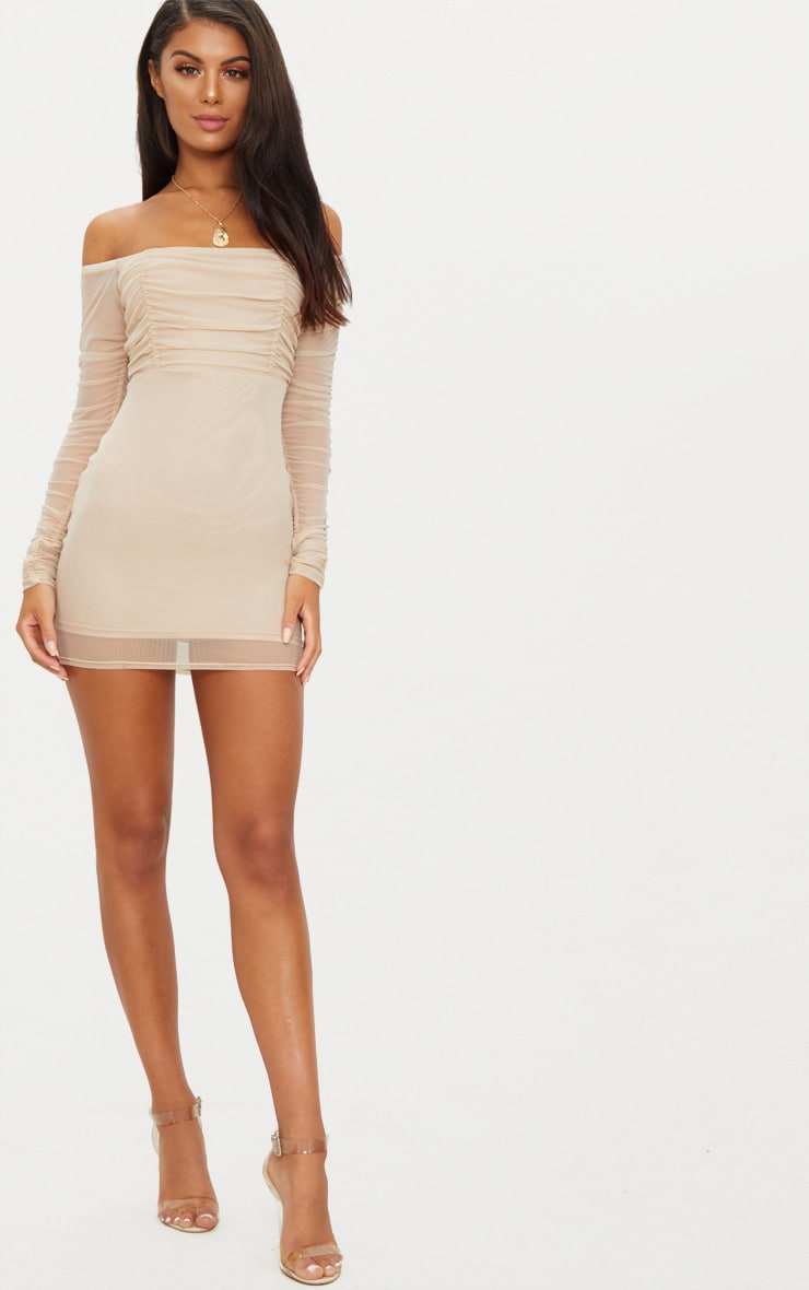 united states official innovative design Stone Ruched Mesh Bardot Bodycon Dress