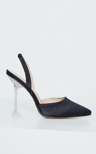 Black Cake Stand Sling Back Point Toe Court Shoe
