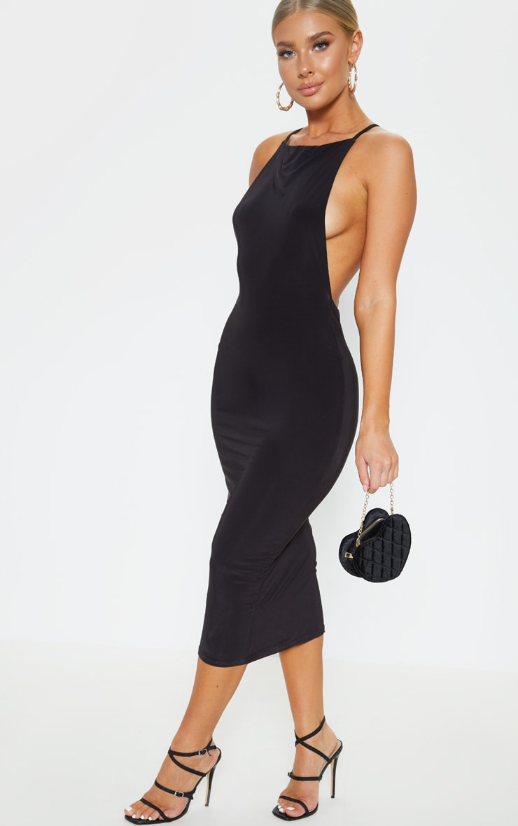Black Strappy Slinky Cross Back Midi Dress 4
