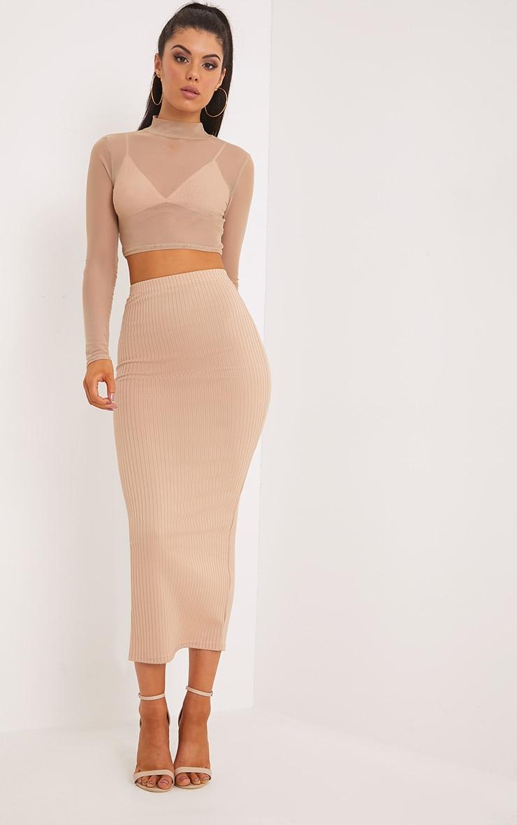 Kaira Stone Ribbed Midaxi Skirt  1