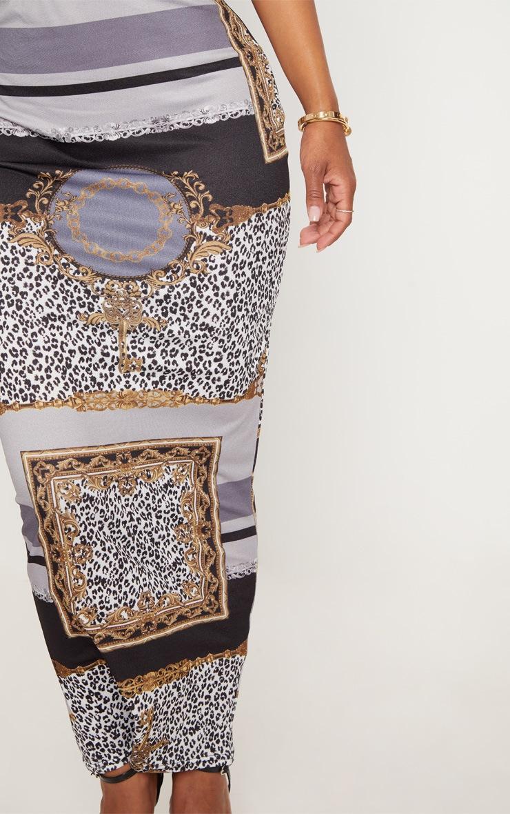 Shape Black  Chain Print Midaxi Skirt 5