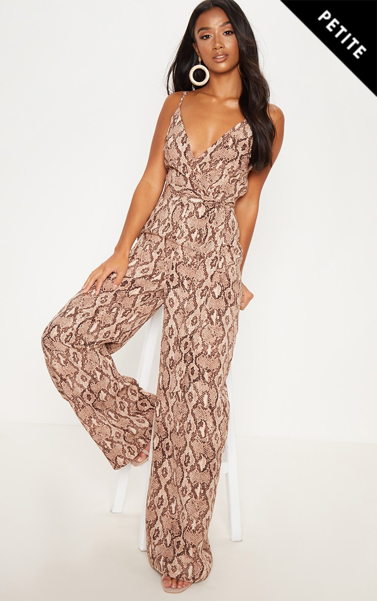 Petite Stone Snake Print Strappy Tie Waist Jumpsuit