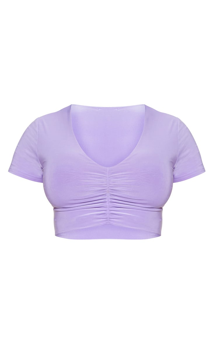 Lilac Slinky V Neck Ruched Front Crop Top 3