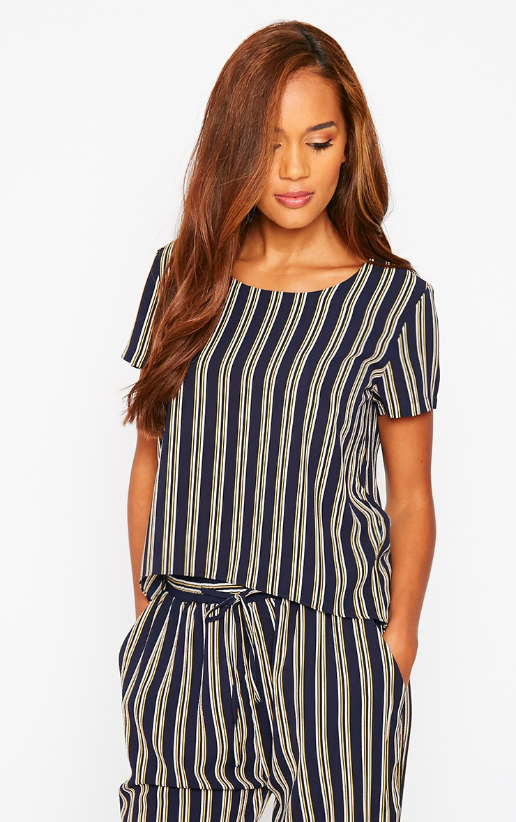 Kali Navy Stripe Drop Hem Tee 4