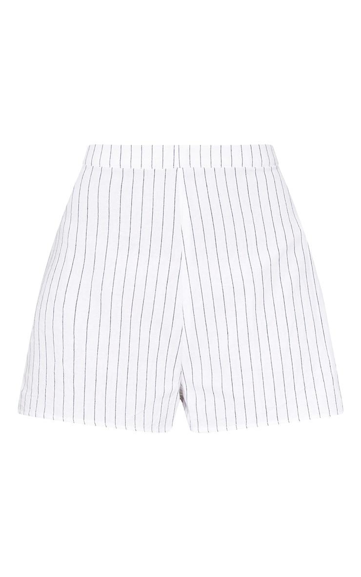 White Pinstripe Shorts 3