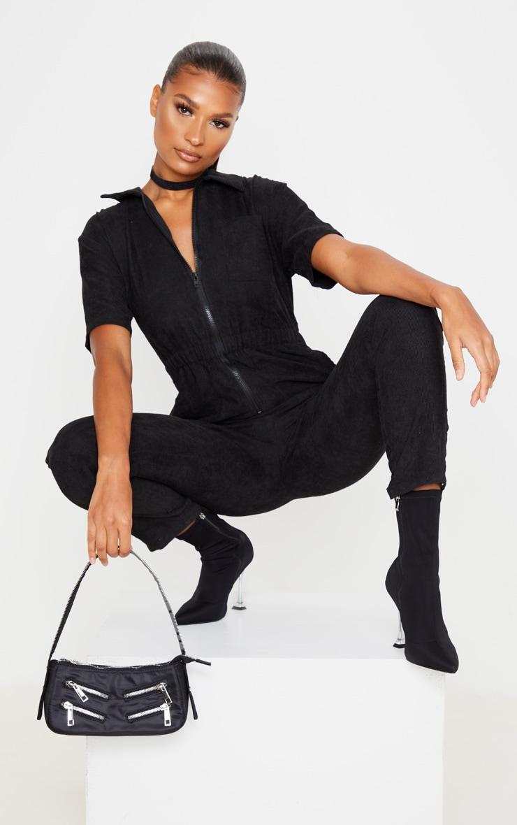 Black Cord Zip Through Short Sleeve Jumpsuit 1