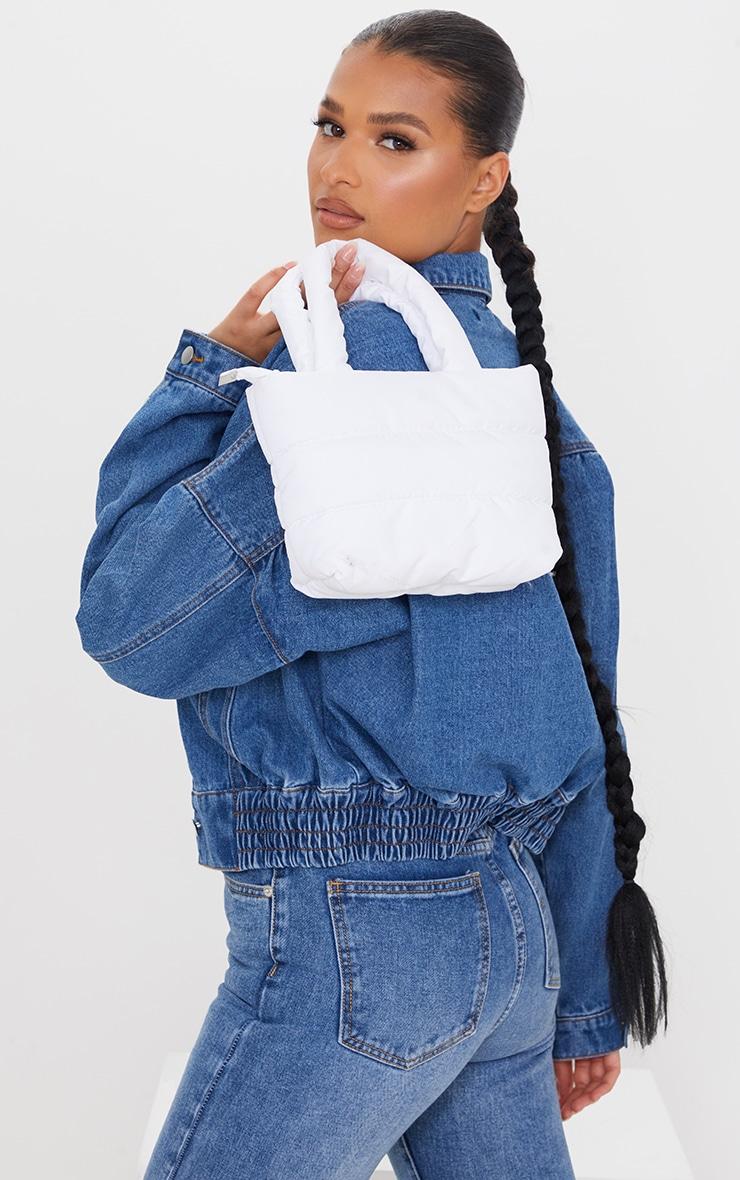 White Mini Quilted Nylon Tote Bag 1