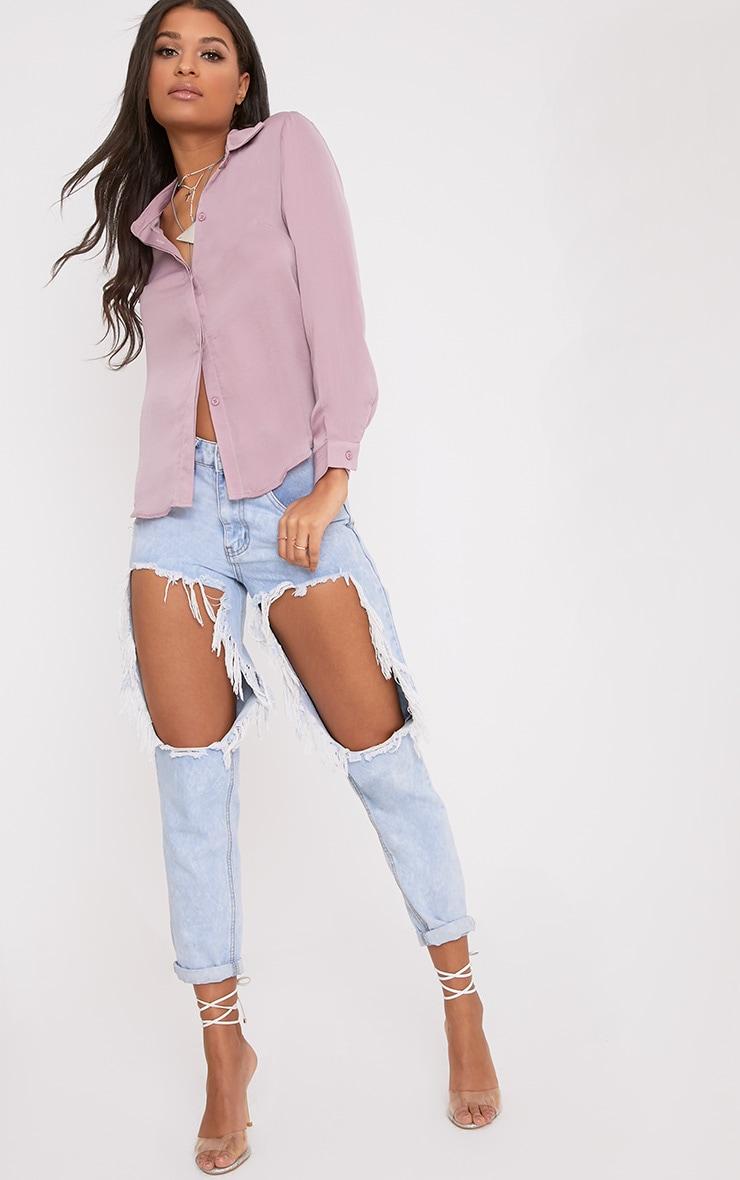 Lina Mauve Satin Shirt 4