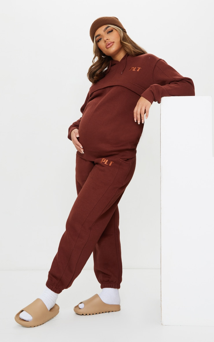 PRETTYLITTLETHING Maternity Brown Embroidered Joggers 1
