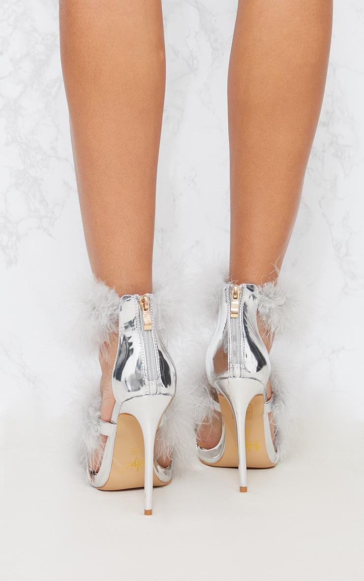 Silver Feather Triple Strap Sandal 3