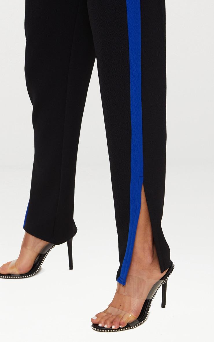 Black Contrast Side Tape Straight Leg Trouser 5