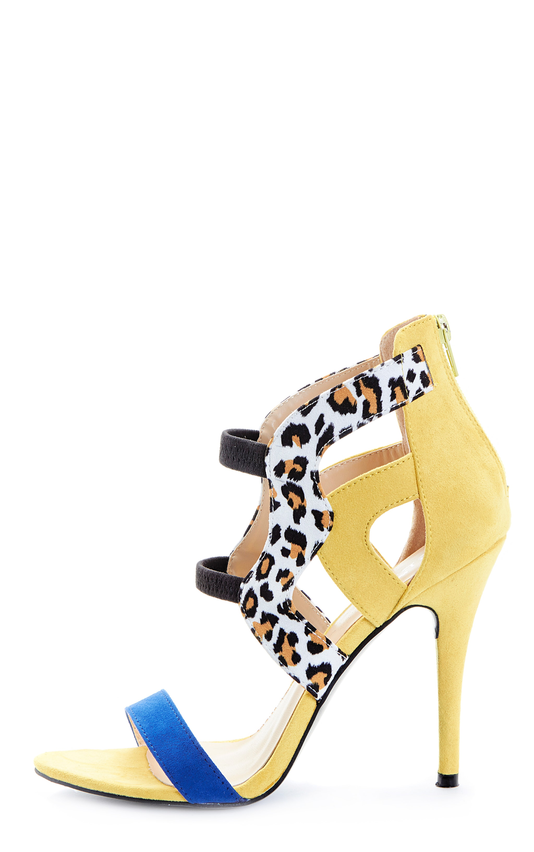 Deni Yellow Leopard Contrast Suedette Heeled Sandal 1