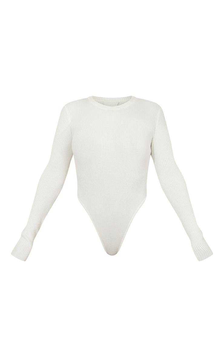 Body en maille tricot côtelée crème à manches longues 5