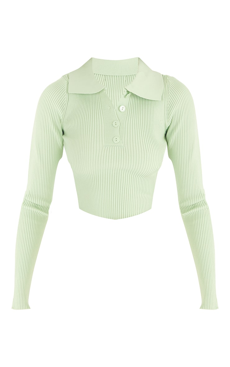 Tall Green Knitted Rib Button Through Polo Bodysuit 5