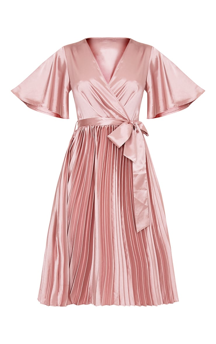 Mairee Dusty Pink Satin Pleated Midi Dress