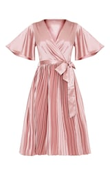a9893bf7c9b Mairee Dusty Pink Satin Pleated Midi Dress | PrettyLittleThing AUS