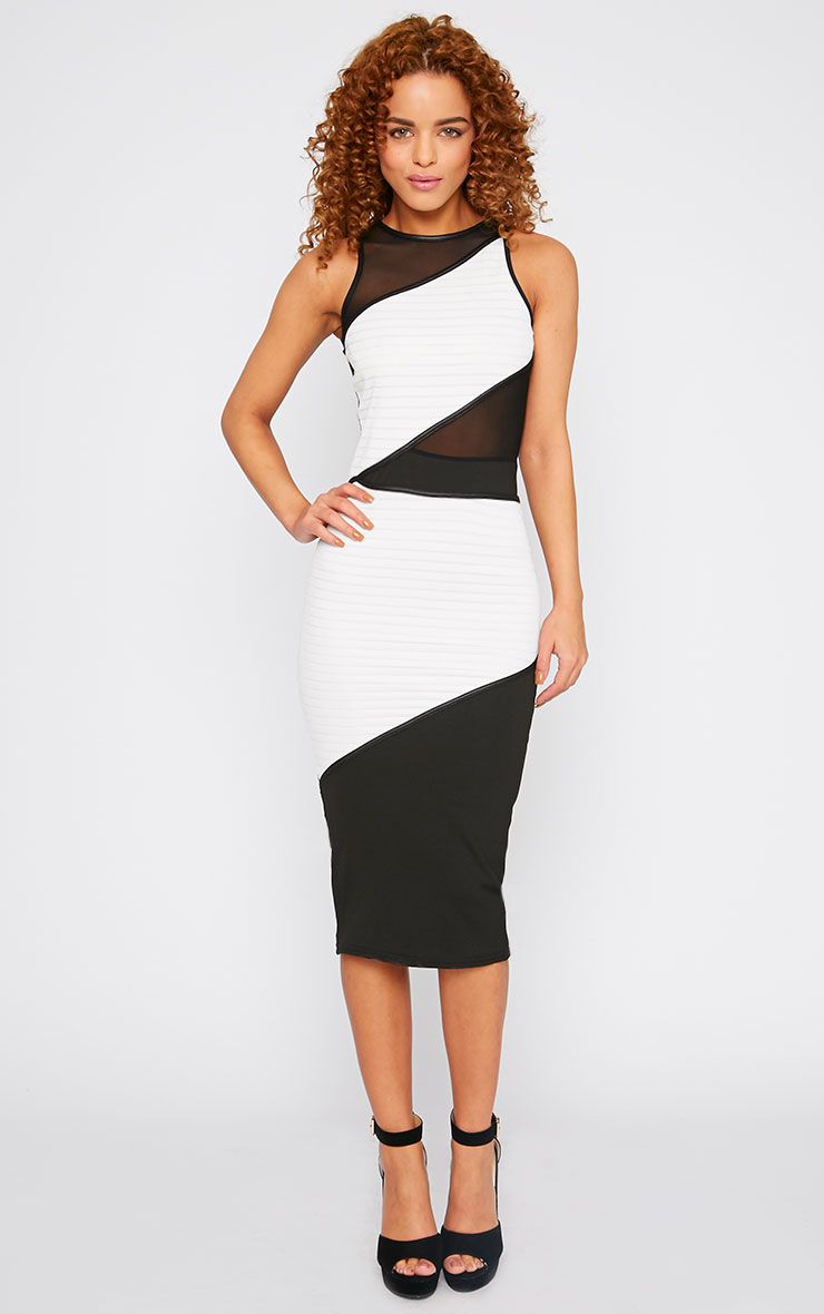 Saige White Mesh Panel Midi Dress 1