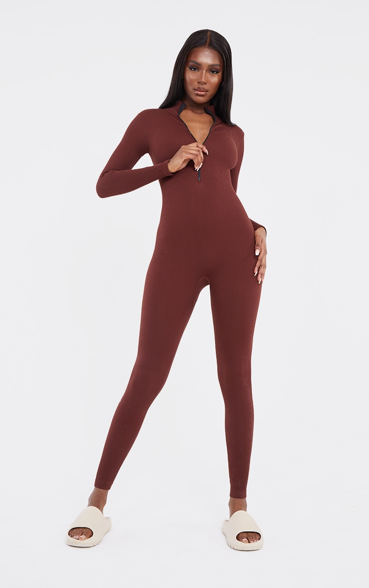 Tall Chocolate Structured Contour Rib Jumpsuit