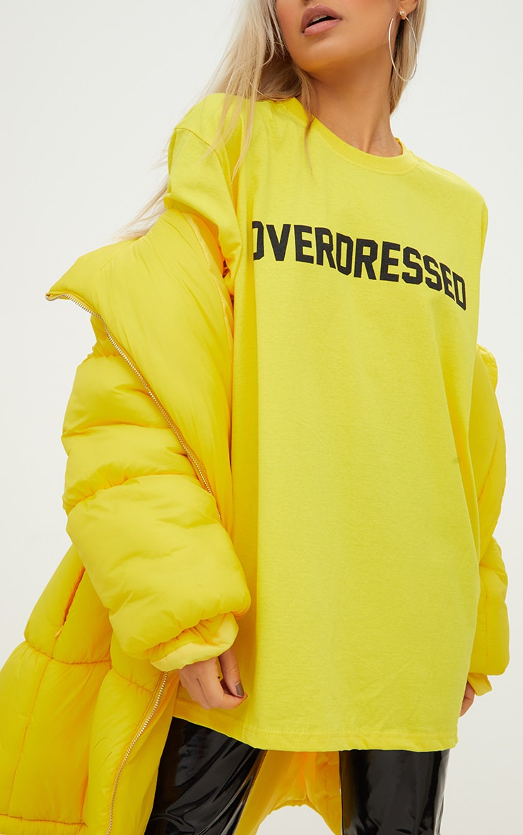 Overdressed Slogan Yellow Oversized T Shirt 2