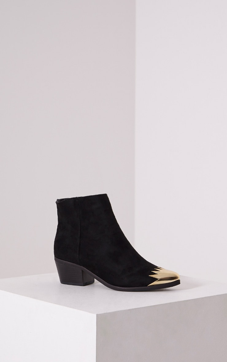Karrie Black Metallic Detail Faux Suede Ankle Boots 3