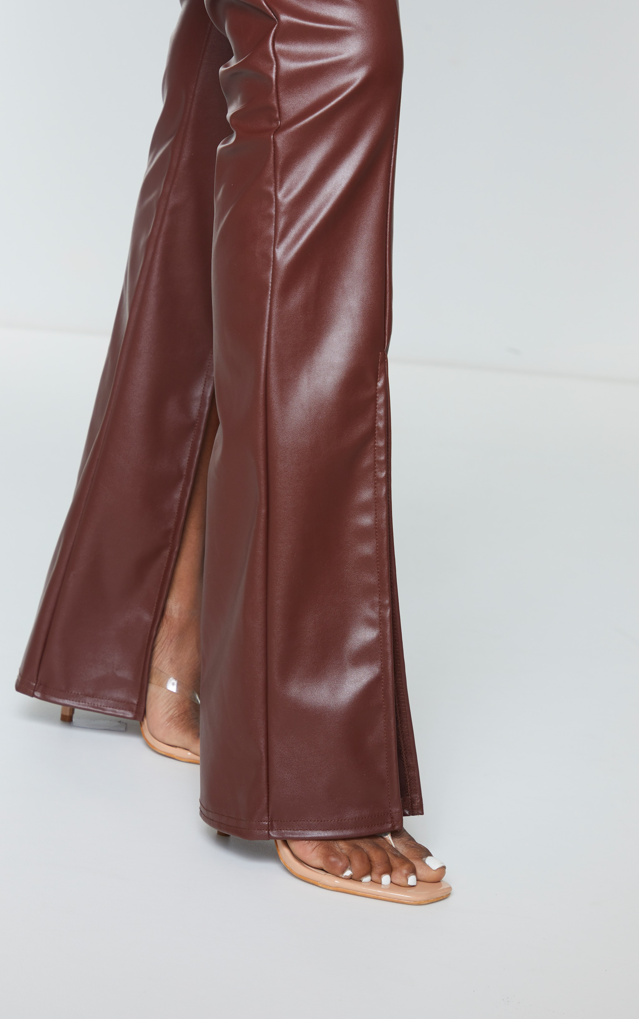 Chocolate Faux Leather Seam Detail Split Hem Pants 4