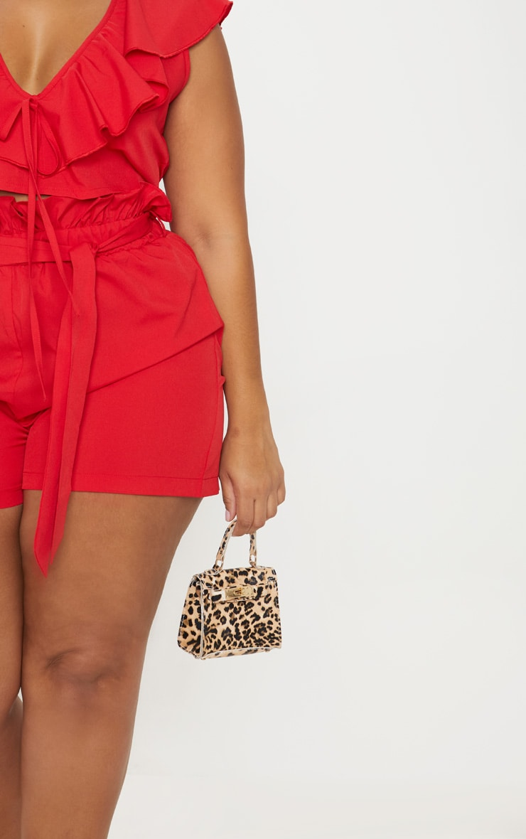 Plus Red Paperbag Belted Shorts 6
