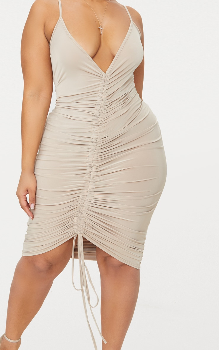 Plus Stone Slinky Strappy Ruched Midi Dress 4