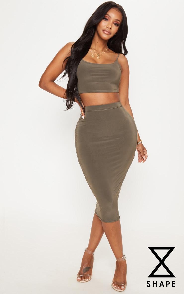 Shape Olive Green Slinky High Waist Midi Skirt