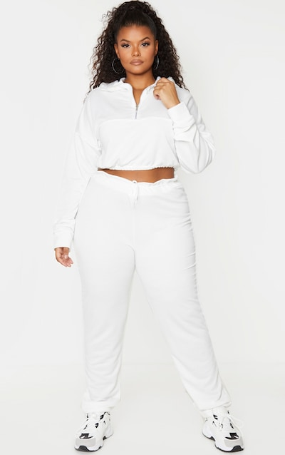 Plus Cream Sweat Toggle Waist Joggers by Pretty Little Thing, available on prettylittlething.com for $11 Hailey Baldwin Pants SIMILAR PRODUCT