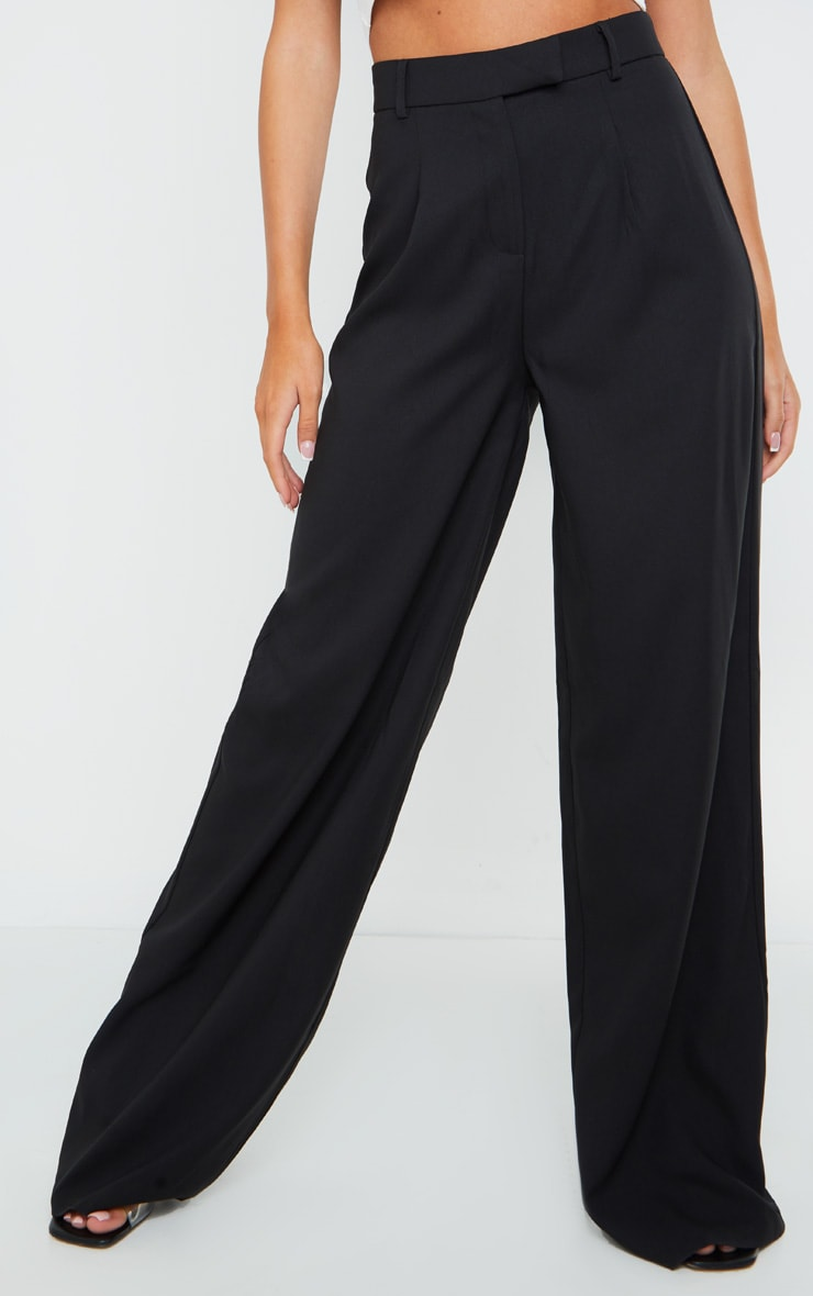 Black Woven Tailored Wide Leg Trousers 2