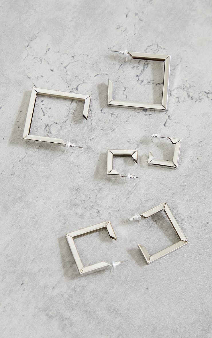 Silver Chunky Square Assorted 3 Pack Hoop Earrings 2