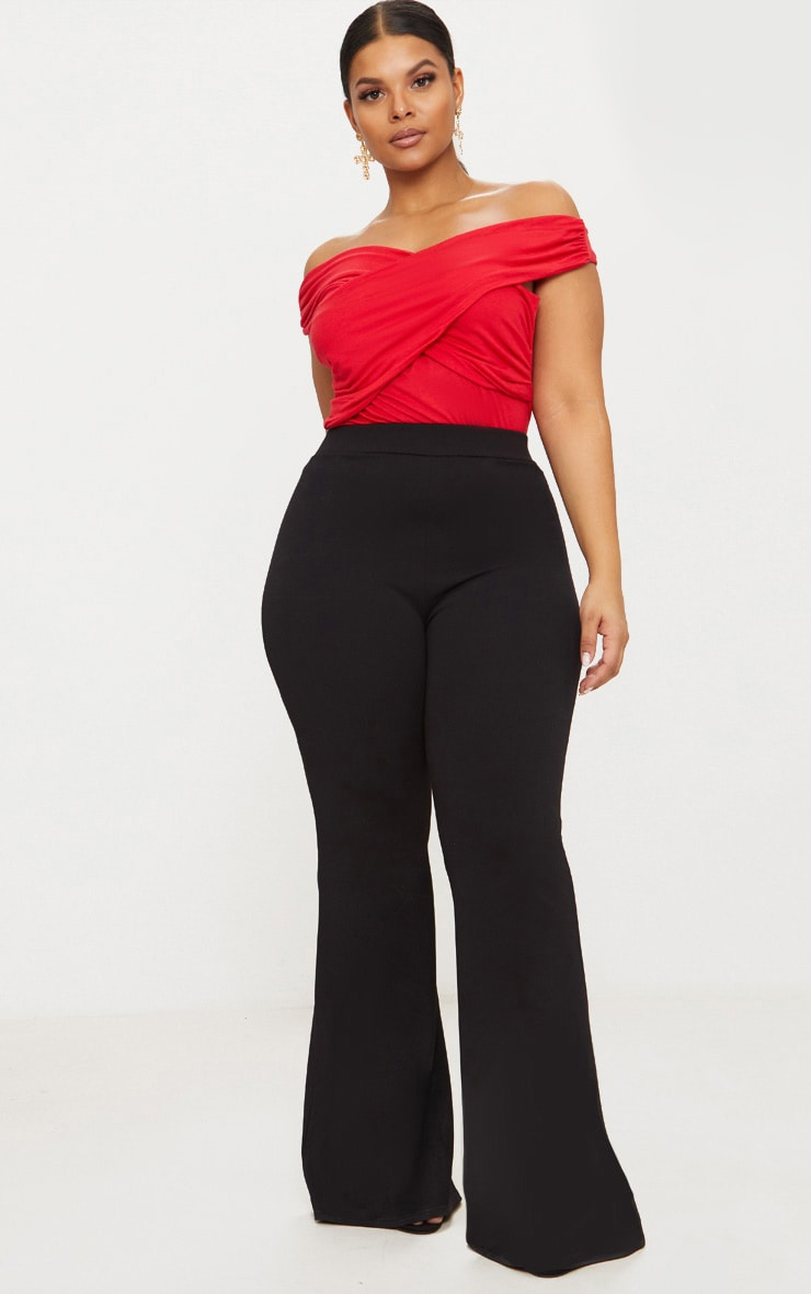 Plus Black Extreme Wide Leg Trousers 1
