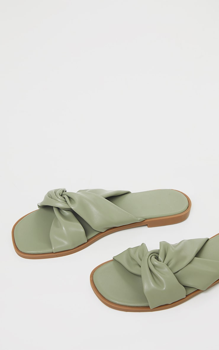 Sage Green PU Knot Detail Flat Mule Sandals 4