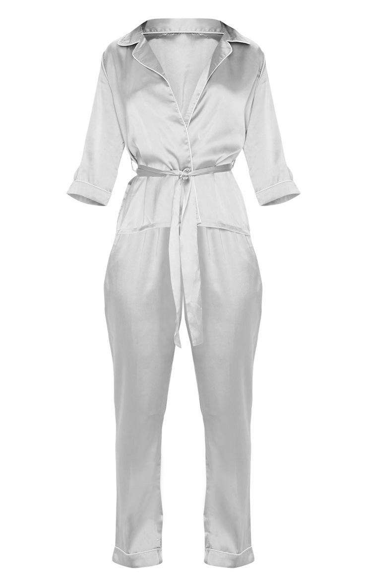 Grey Satin Wrap Kimono PJ Set 3