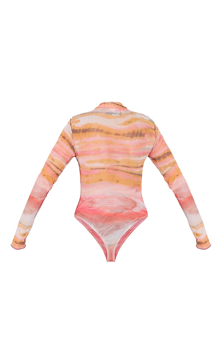 Orange Abstract Printed Mesh Contrast Stitch Long Sleeve Bodysuit 6