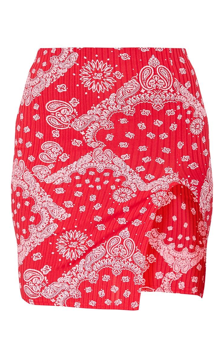 Red Scarf Print Split Front Mini Skirt 6