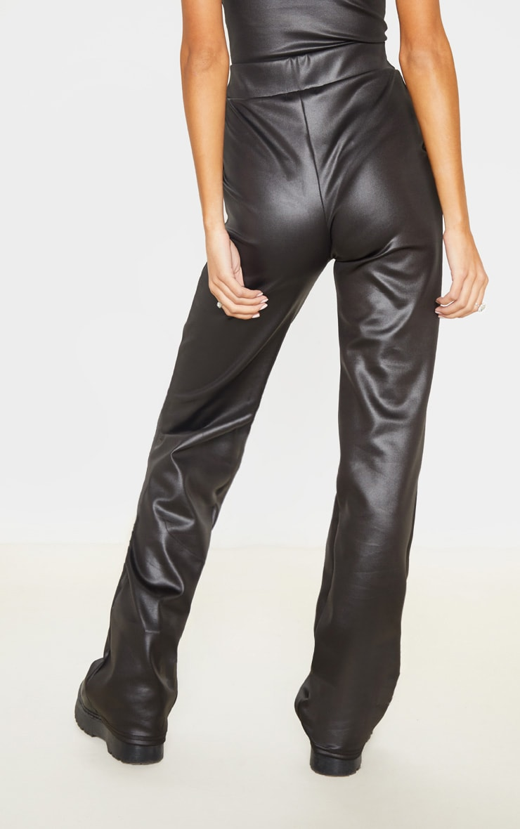 Tall Black Wide Leg PU Flared Pants  4
