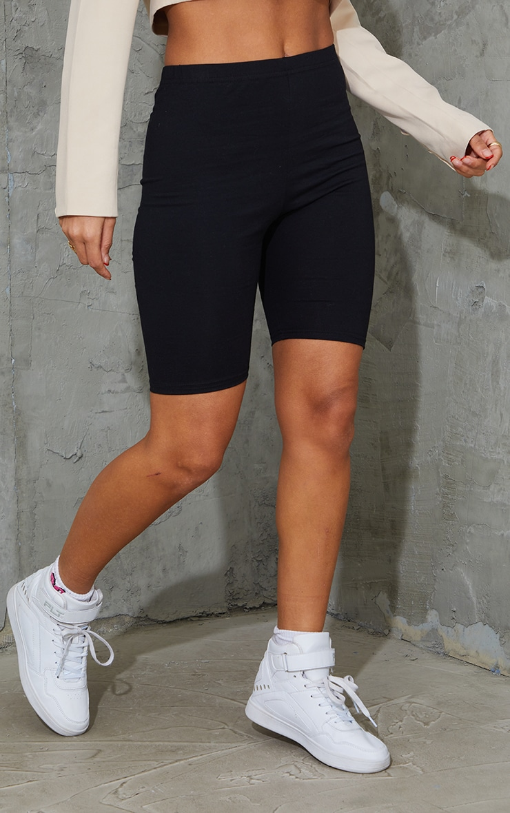 Black Cotton Stretch Bike Short 2