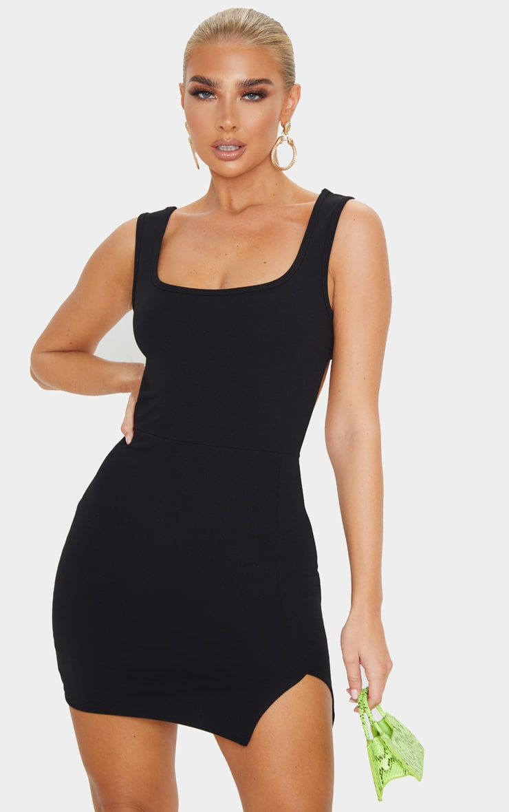 Black Sleeveless Cut Out Back Split Hem Bodycon Dress 2