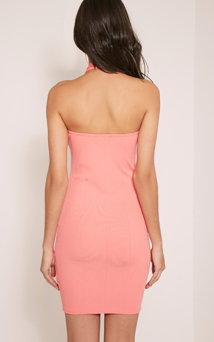 Chessie Coral Halterneck Bandage Bodycon Dress 2