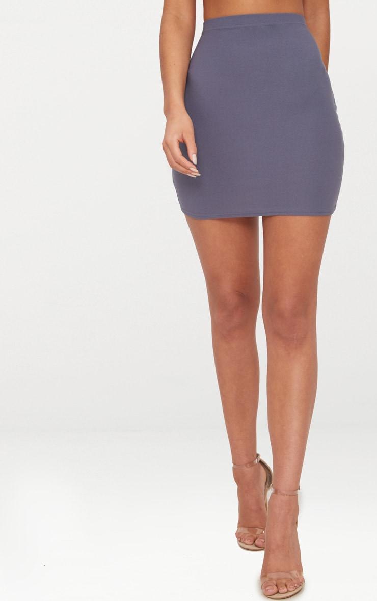 Dusky Blue Mini Skirt  2