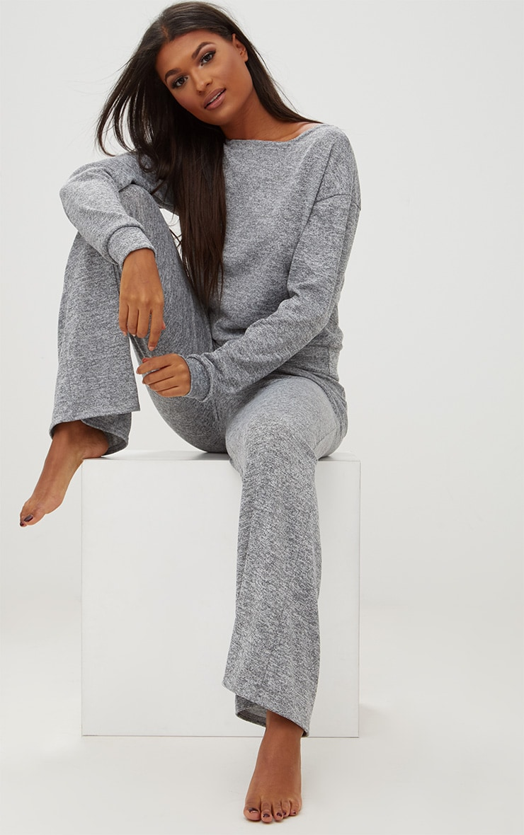 Grey Marl Knit Wide Leg Lounge Set 1