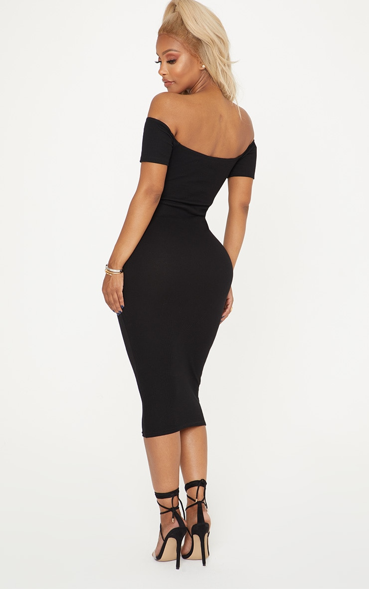 Shape Black Ribbed Cut Out Front Midi Dress 2