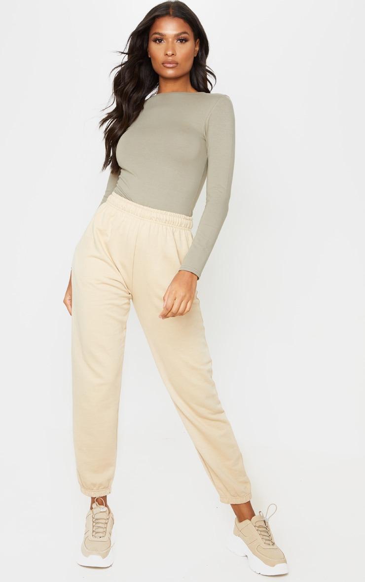 Tee-shirt à manches longues en coton kaki 4
