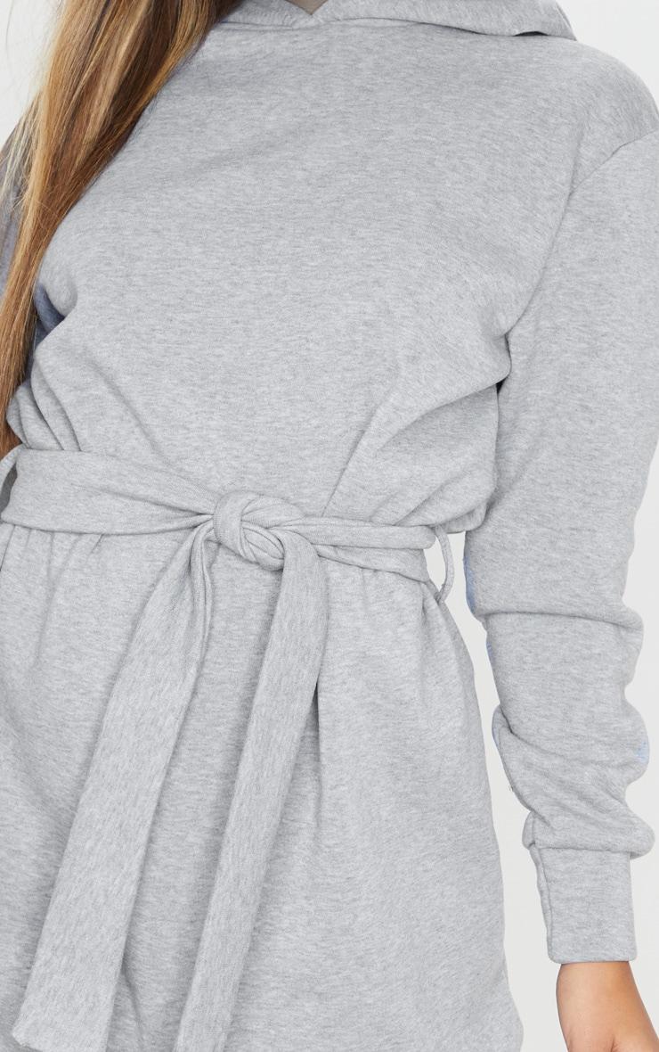Grey Tie Waist Detail Long Sleeve Hoodie Sweater Dress 5