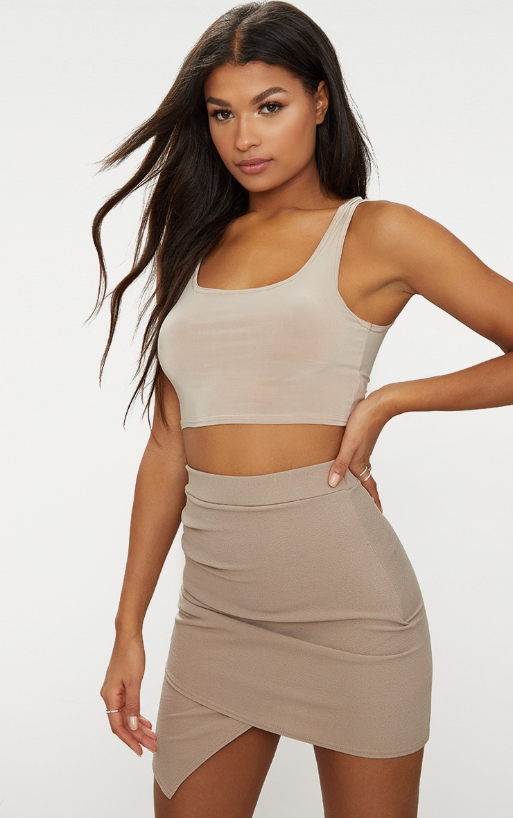 Taupe Ruched Wrap Mini Skirt