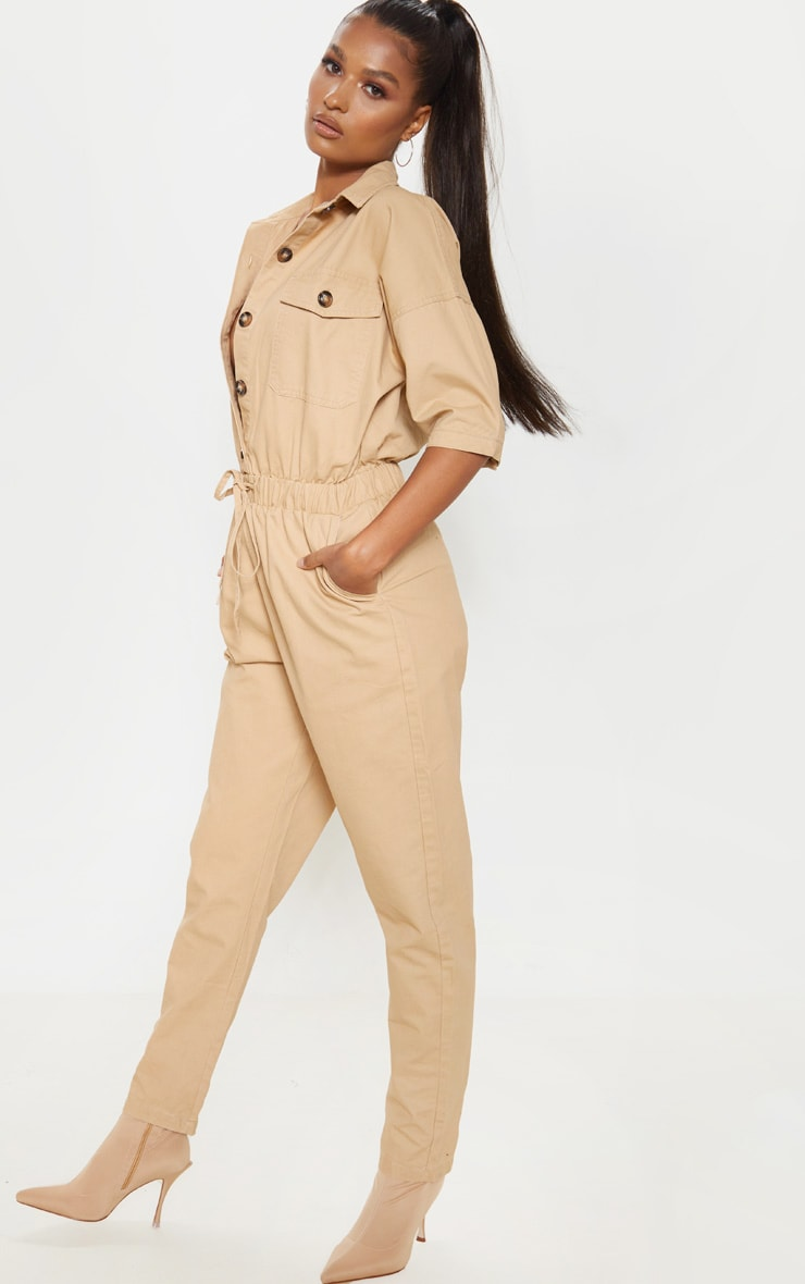 Sand Tortoise Button Chambray Jumpsuit 4