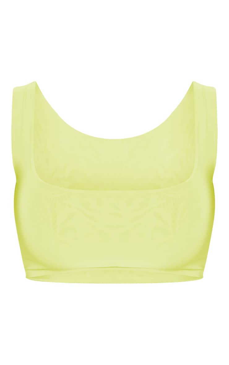 Lime Slinky Square Neck Sleeveless Crop Top 3