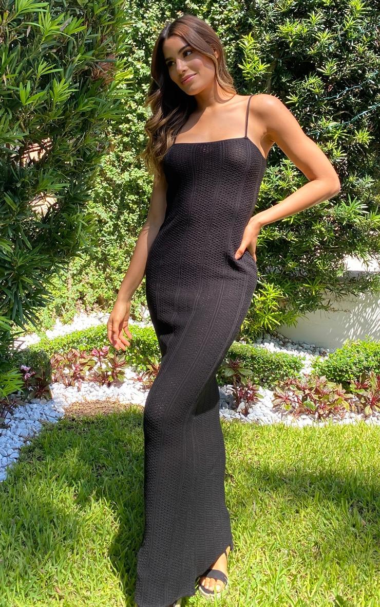 Tall Black Knitted Maxi Dress 3